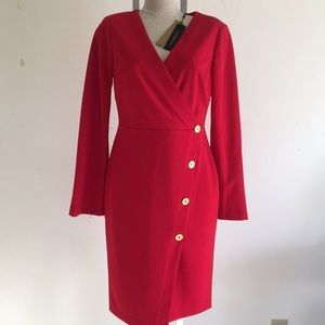 Donna Karan V neck, knee length red dress